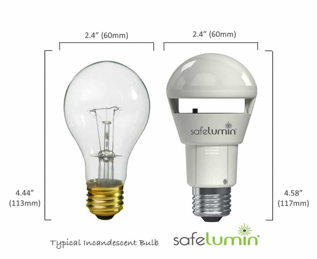 Compact size power outage light bulb